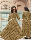 image of Light Brown Rayon Fabric Festive Wear Kurti With Print Designs