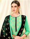 photo of Art Silk Casual Wear Straight Cut Sea Green Suit With Weaving Work