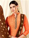 photo of Art Silk Casual Wear Straight Cut Orange Suit With Weaving Work