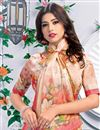 photo of Linen Fabric Party Wear Printed Saree In Peach