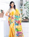 image of Yellow Linen Fabric Festive Wear Printed Saree