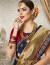 photo of Navy Blue Art Silk Festive Wear Saree With Jacquard Work