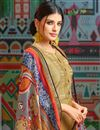 photo of Cream Party Wear Printed Palazzo Suit In Chanderi Fabric With Fancy Dupatta