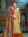 image of Daily Wear Cream Printed Chanderi Fabric Palazzo Suit With Fancy Dupatta