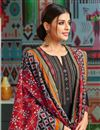 photo of Casual Wear Black Printed Chanderi Fabric Palazzo Salwar Suit With Fancy Dupatta
