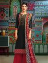 image of Casual Wear Black Printed Chanderi Fabric Palazzo Salwar Suit With Fancy Dupatta