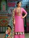 image of Pink Occasion Wear Printed Palazzo Suit With Chanderi Fabric With Fancy Dupatta