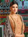 photo of Chanderi Fabric Cream Printed FunctionWear Fancy Palazzo Suit With Fancy Dupatta