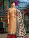 image of Chanderi Fabric Cream Printed FunctionWear Fancy Palazzo Suit With Fancy Dupatta