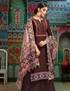 photo of Casual Wear Brown Printed Chanderi Fabric Palazzo Salwar Suit With Fancy Dupatta