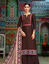image of Casual Wear Brown Printed Chanderi Fabric Palazzo Salwar Suit With Fancy Dupatta