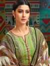 photo of Chanderi Fabric Designer Printed Palazzo Suit In Green With Fancy Dupatta