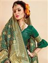 photo of Traditional Wear Designer Green Art Silk Saree With Jacquard Work