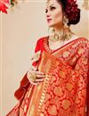 photo of Party Style Designer Red Saree In Art Silk With Jacquard Work