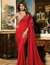image of Shilpa Shetty Embroidery Work On Red Designer Saree In Art Silk Fabric