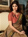 photo of Shilpa Shetty Art Silk Party Wear Saree In Light Brown With Embroidery Work