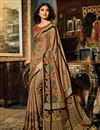 image of Shilpa Shetty Art Silk Party Wear Saree In Light Brown With Embroidery Work