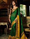 image of Shilpa Shetty Dark Green Brasso Wedding Wear Saree With Embroidery Work