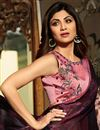 photo of Shilpa Shetty Burgundy Brasso Occasion Wear Saree With Embroidery Work