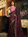 image of Shilpa Shetty Burgundy Brasso Occasion Wear Saree With Embroidery Work