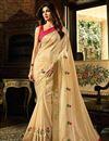 image of Shilpa Shetty Cream Bhagalpuri Silk Wedding Wear Saree With Embroidery Work