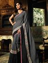image of Shilpa Shetty Cotton Grey Occasion Wear Saree With Embroidery Work
