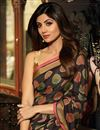 photo of Shilpa Shetty Embroidery Work On Brown Art Silk Designer Saree