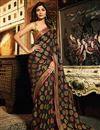 image of Shilpa Shetty Embroidery Work On Brown Art Silk Designer Saree