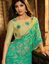 photo of Shilpa Shetty Embroidery Work On Brasso Green Designer Saree