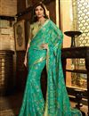 image of Shilpa Shetty Embroidery Work On Brasso Green Designer Saree