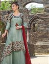 image of Dark Grey Designer Embroidered Readymade Anarkali Salwar Kameez In Satin Fabric