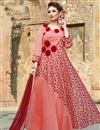 image of Festive Wear Readymade Anarkali Salwar Suit In Peach Fancy Fabric