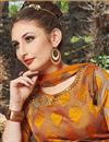 photo of Satin Orange Sangeet Wear Readymade Anarkali Suit With Embroidery Work