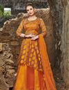 image of Satin Orange Sangeet Wear Readymade Anarkali Suit With Embroidery Work