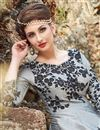 photo of Occasion Wear Grey Embroidered Readymade Anarkali Salwar Kameez In Art Silk Fabric