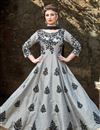 image of Occasion Wear Grey Embroidered Readymade Anarkali Salwar Kameez In Art Silk Fabric