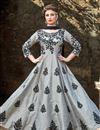 image of Occasion Wear Grey Embroidered Readymade Anarkali Salwar Kameez In Art Silk Fabric