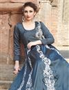 photo of Satin Dark Grey Embroidered Readymade Anarkali Suit