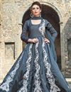 image of Satin Dark Grey Embroidered Readymade Anarkali Suit
