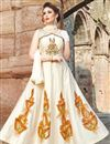 image of Chanderi Beige Sangeet Wear Readymade Anarkali Suit With Embroidery Work