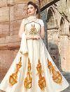 image of Festive Wear Readymade Anarkali Salwar Suit In Beige Chanderi Fabric