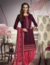 image of Embroidery Designs On Cotton Fabric Party Wear Patiala Suit In Purple Color