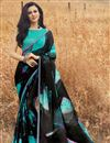 image of Black Fancy Festive Wear Printed Saree In Georgette Fabric