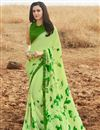 image of Georgette Fabric Fancy Sea Green Daily Wear Printed Saree