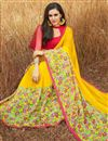 photo of Yellow Georgette Daily Wear Fancy Printed Saree