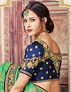 picture of Banarasi Silk Designer Festive Wear Saree With Embroidery Work In Sea Green