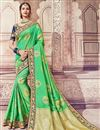 image of Banarasi Silk Designer Festive Wear Saree With Embroidery Work In Sea Green