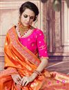 photo of Traditional Function Wear Banarasi Silk Rust Color Embroidered Saree
