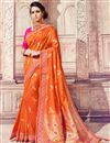 image of Traditional Function Wear Banarasi Silk Rust Color Embroidered Saree