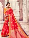 image of Function Wear Red Traditional Banarasi Silk Saree With Work